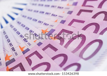 Close up of european paper currency with copy space - stock photo