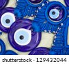 Close-up of evil eye beads at market in Turkey - stock photo