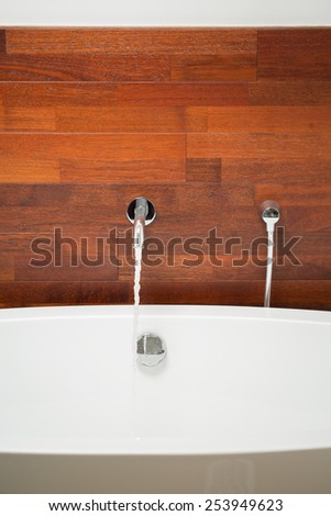 Close-up of exclusive bathtub with wooden wall