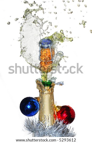 Close-up of explosion of a champagne bottle cork - stock photo