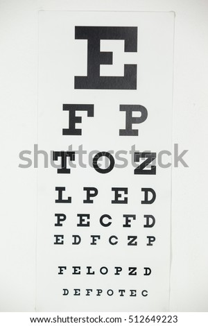 Close-up of eye chart on white background
