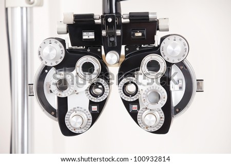 Close-up of eye exam equipment. - stock photo