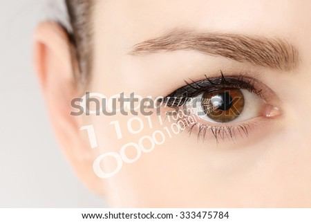Close-up of eye of woman with binary code  - stock photo