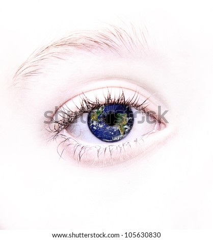 Close up of eye with the earth or world reflected in it, parts of this image furnished by NASA - stock photo