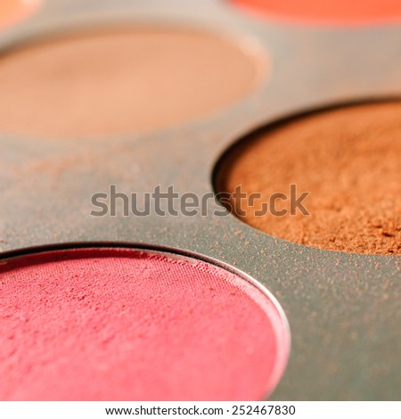 Close up of eyeshadow palette - Square composition - stock photo