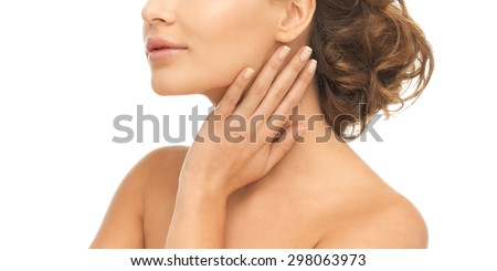 close up of face and hands of beautiful woman