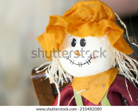 Close up of fall scarecrow - stock photo