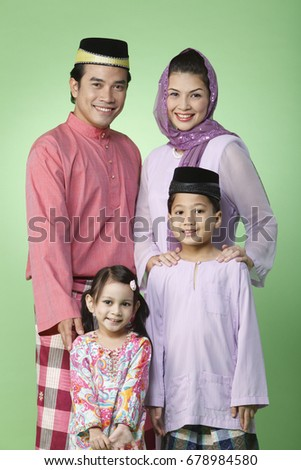 close up of family portrait with traditional outfit