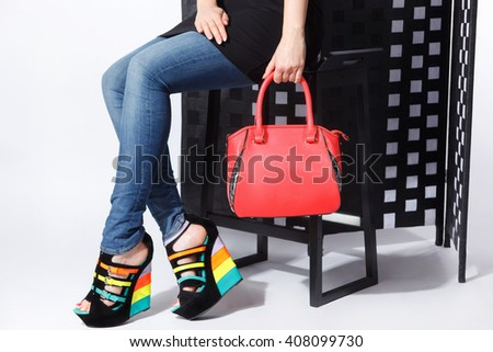 Close-up of fashionable woman bag and shoes