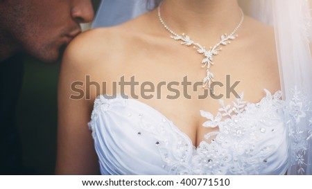 Closeup Female Breasts Lownecked Dress Groom Stock Photo Royalty