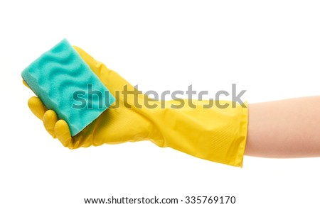 Close up of female hand in yellow protective rubber glove holding green cleaning sponge against white background