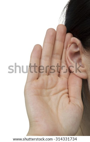 close up of female hand put to ear pretending to be listening to something. Studio shot isolated over white