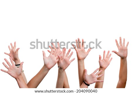 Close up of female hands and arms reaching out.Isolated on white background. - stock photo