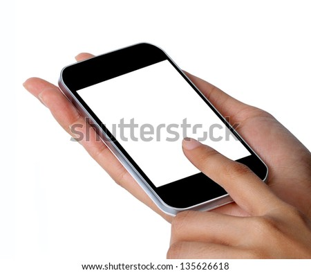 Close-up of female hands using a smart phone,isolated on white - stock photo
