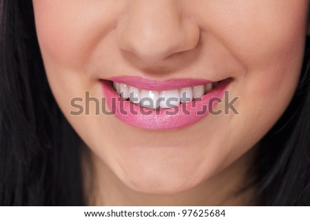 Close up of female perfectly white healthy smile - stock photo