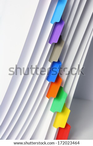 Close Up of File with Labels - stock photo