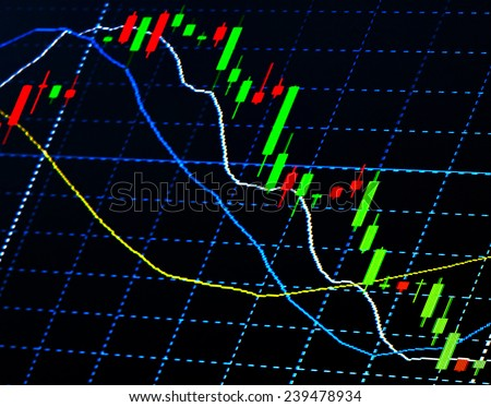 Close up of finance business graph,Trend down. - stock photo