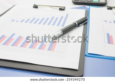 Close-up of financial statements - stock photo