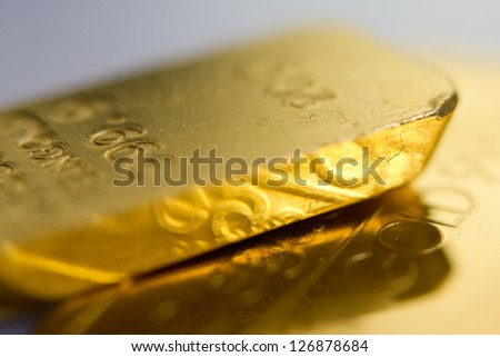 Close-up of fine gold ingots - stock photo