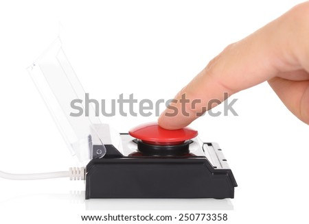 Close-up Of Finger Using Red Emergency Button Over White Background - stock photo