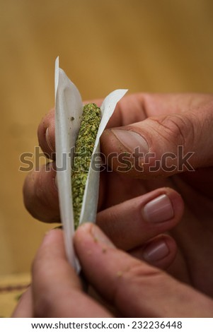 close up of fingers rolling a marijuana joint  with a shallow depth of field - stock photo