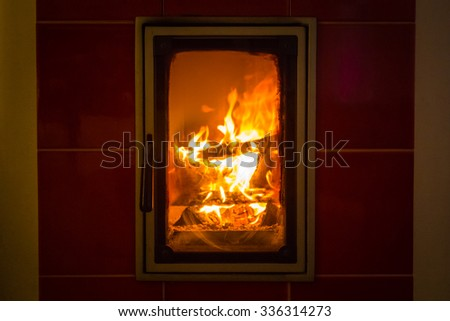 close up of fire and wood burning