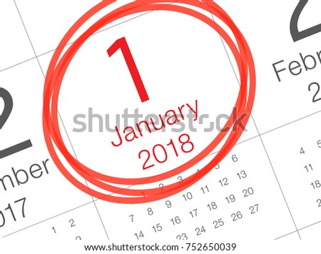 close up of first day of the year 2018 on diary calendar new year is