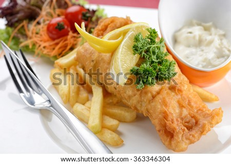 close up of Fish and chips with  tartar sauce  - stock photo