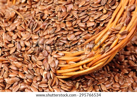 close up of flax seeds as food background - stock photo