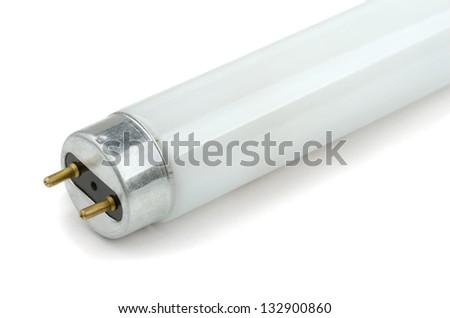 Close-up of fluorescent light tube on white background - stock photo