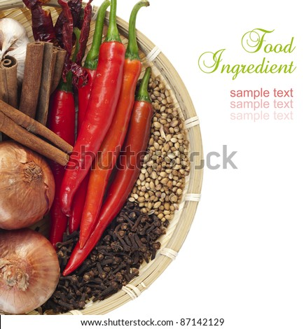 Close up of food Ingredients over white - stock photo