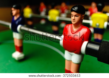 Close Up of Foosball Table Players