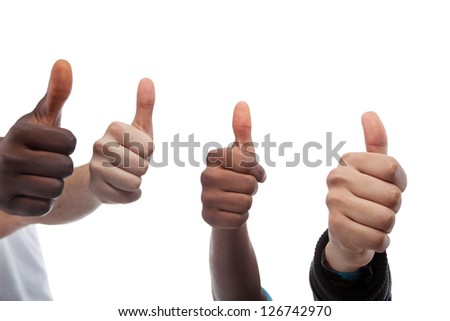 Close Up Of Four Thumbs Up Isolated On White Background - stock photo