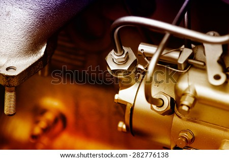 Close up of fragment of automobile engine - stock photo