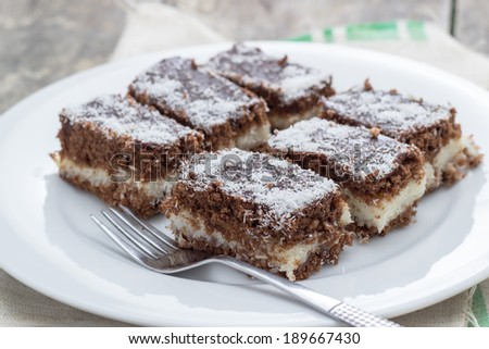 close up of fresh baked coconut cake,shallow depth of field - stock photo
