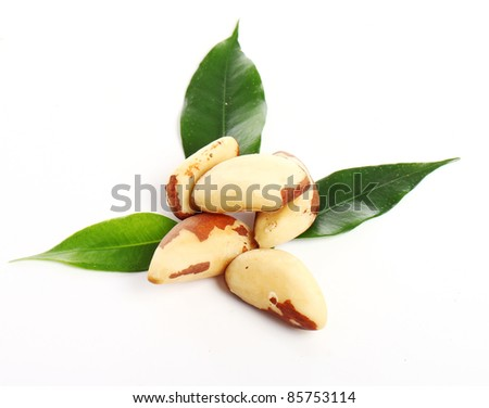 Close up of fresh brazil nuts against white background - stock photo