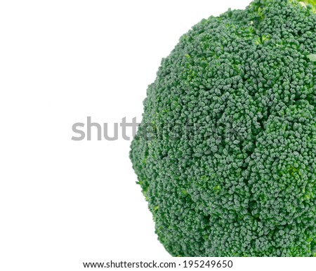 Close up of fresh broccoli. Isolated on a white background.