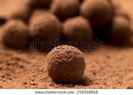 Close up of fresh delicious dark chocolate truffle covered in cocoa powder. Shallow depth of field - stock photo