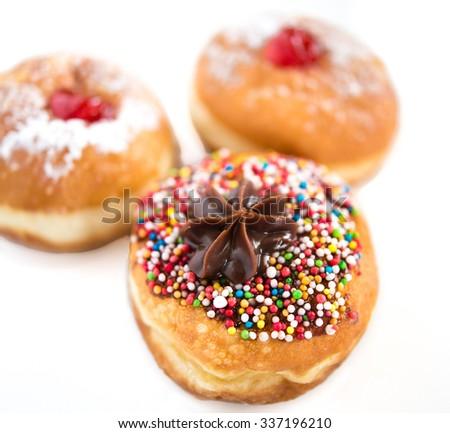 Close up of fresh donuts for Hanukkah  Jewish Holiday. - stock photo