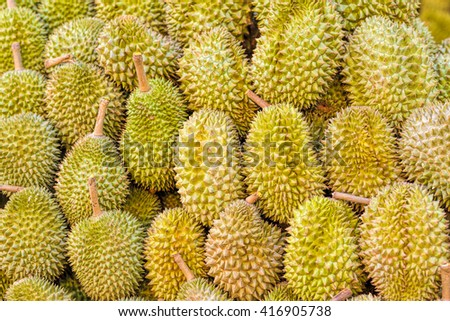 Close up of fresh durian in the market, selective focus.