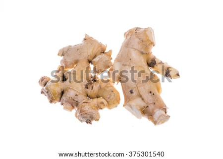 Close up of fresh ginger isolated on white background
