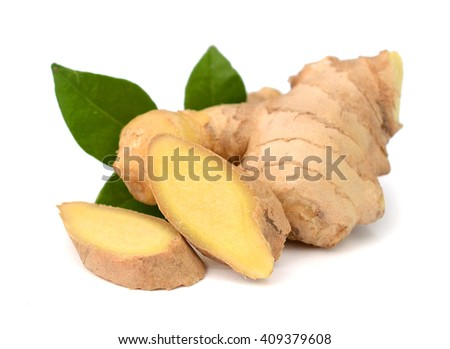 Close up of fresh ginger isolated on white background - stock photo