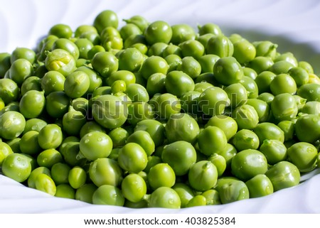 Close up of fresh green peas - stock photo
