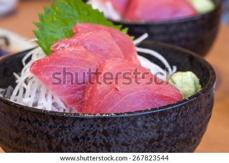 Close up of fresh Japanese tuna fish sashimi for a delicious dish - stock photo