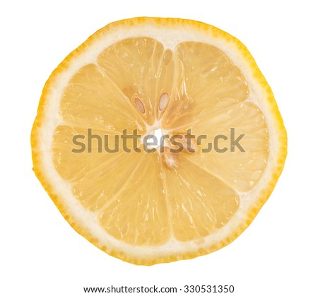 close up of fresh lemon fruit slice - stock photo