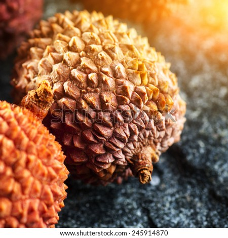 Close-up of fresh ripe lychee fruit (Litchi chinensis) - stock photo
