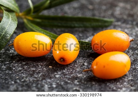 close up of fresh ripe sea buckthorns berries on black stone background