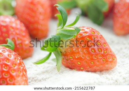 close up of fresh strawberries , red fruits