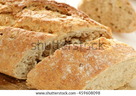 Close-up of fresh wheat sliced bread