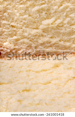Close-up of freshly baked, sliced pound cake with shallow depth of field - stock photo